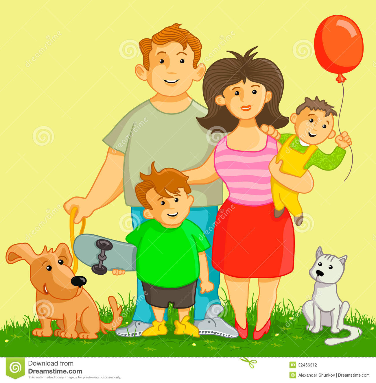 Happy and funny family with two boys, and two pets.
