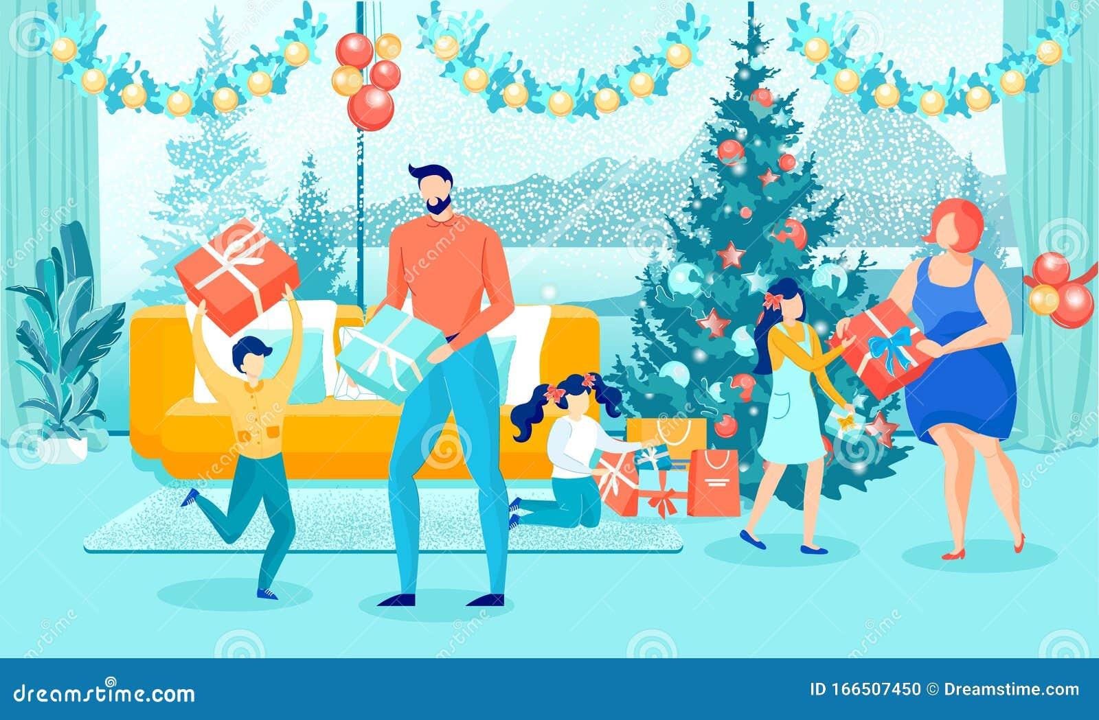 Happy Family Giving Christmas Gifts Near Xmas Tree Stock ...