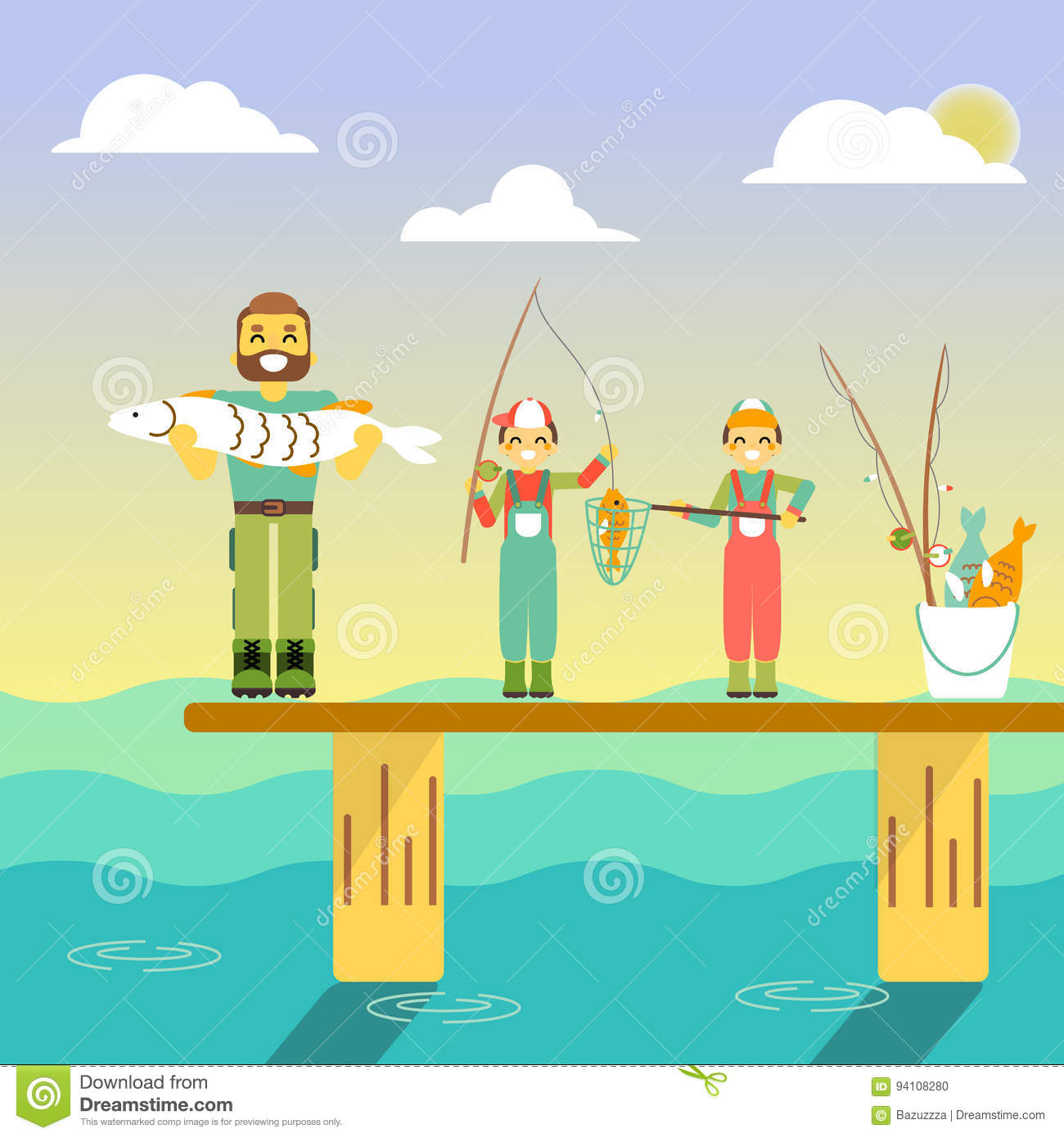 Happy Family Go Fishing. Vector Illustration In Flat Style ...