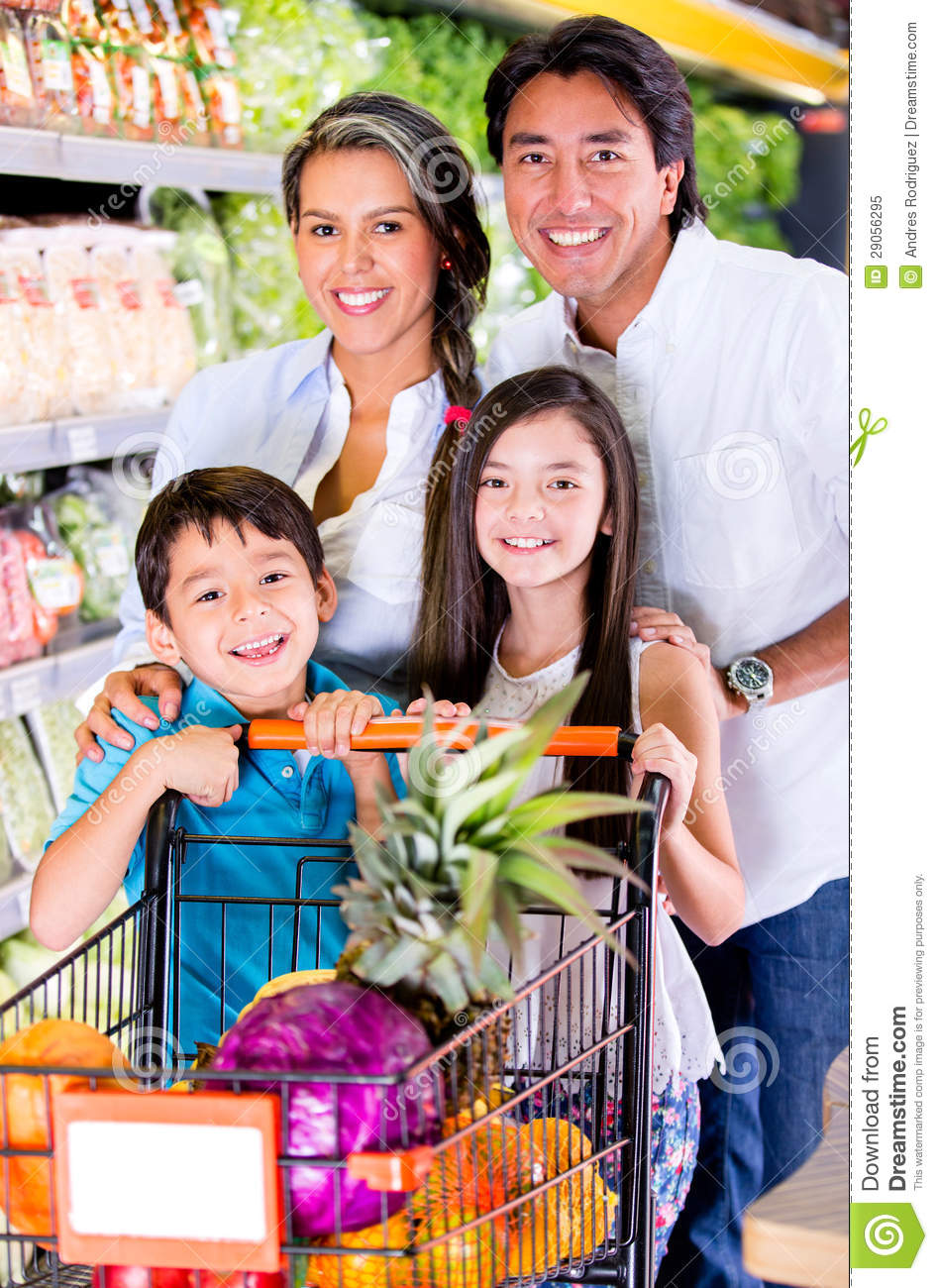 Happy Family At The Grocery Store Stock Image Image Of
