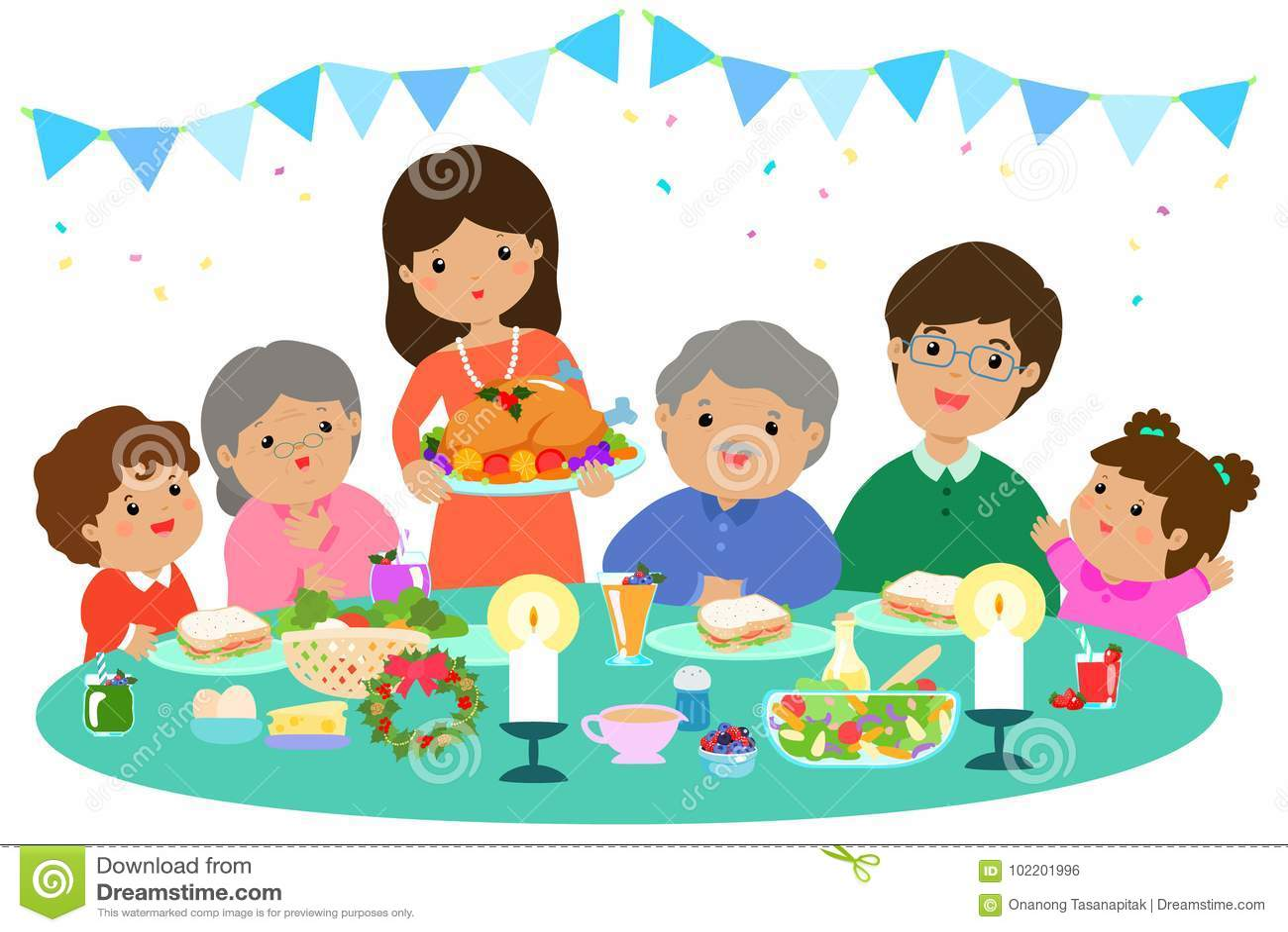 Happy family having a Christmas dinner .