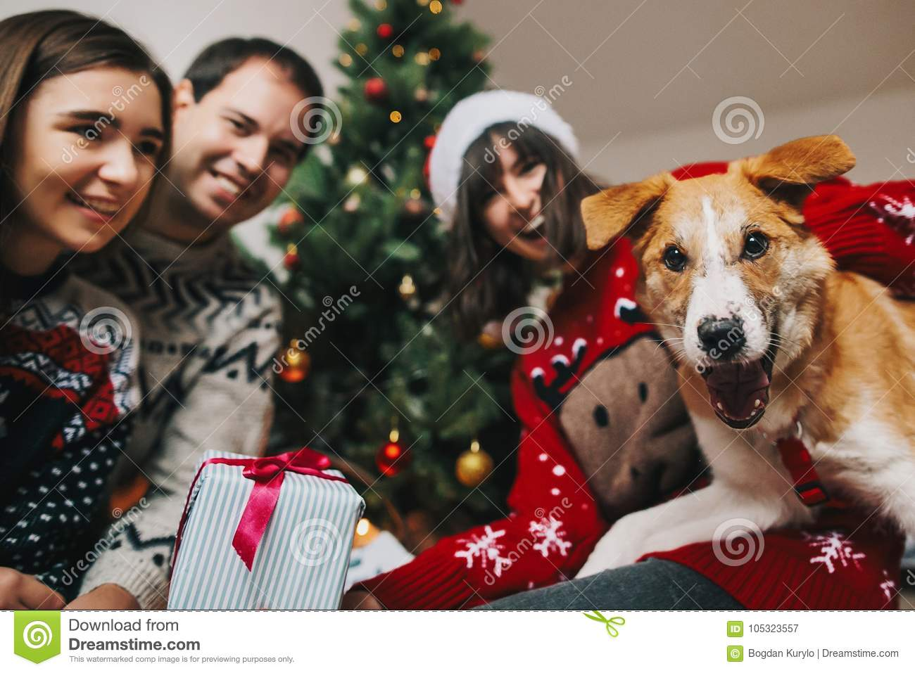 Happy Family Having Fun With Gift And Funny Dog At Christmas Tre