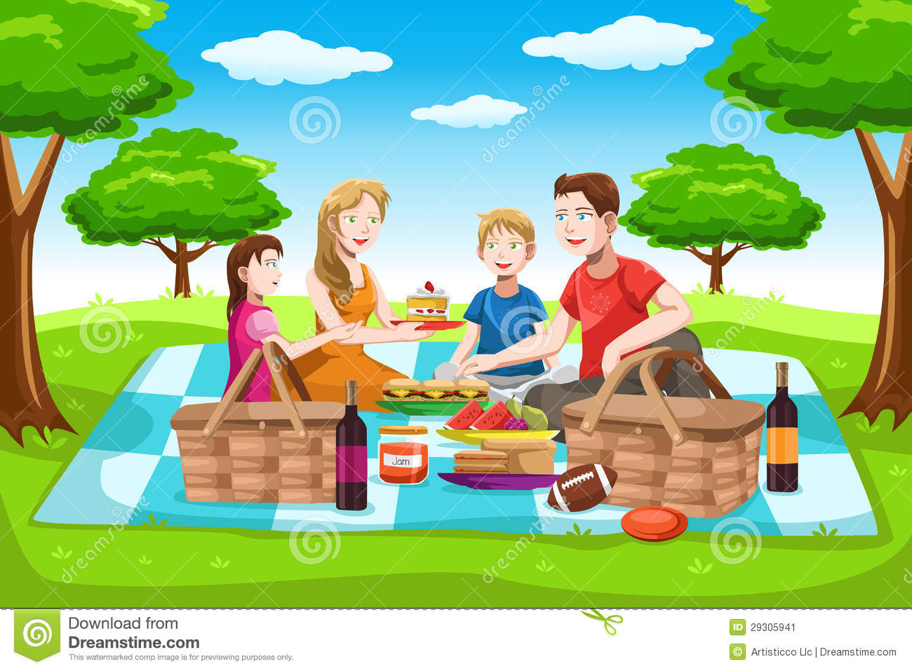 vector illustration of a happy family having a picnic in the park.