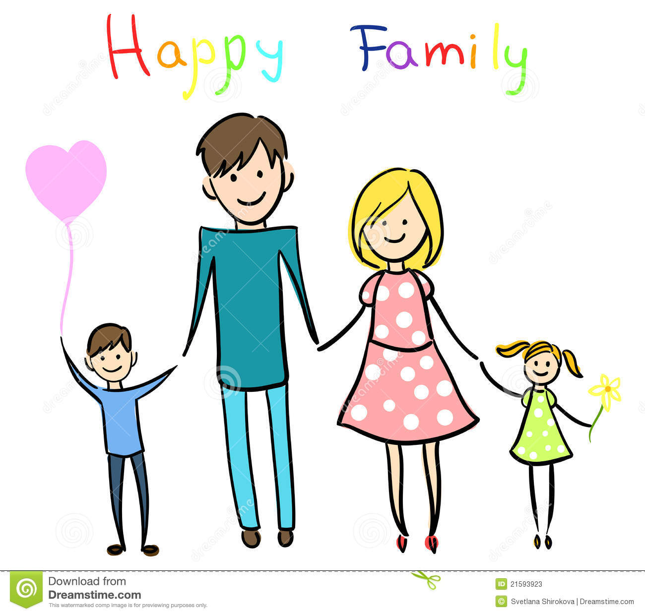 happy family holding hands and smiling stock vector illustration rh dreamstime com happy family day clipart happy family clipart black and white