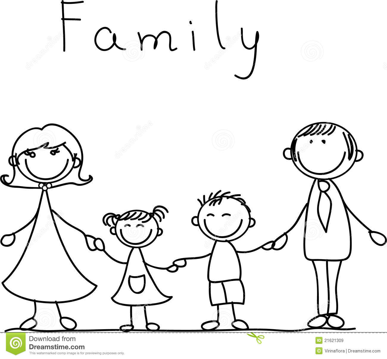 Happy Family Holding Hands Vector Royalty Free Stock