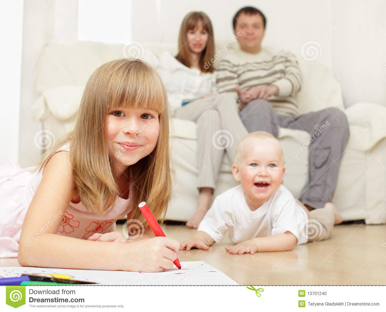 Happy family at home stock photo image 13701240 for Family in house