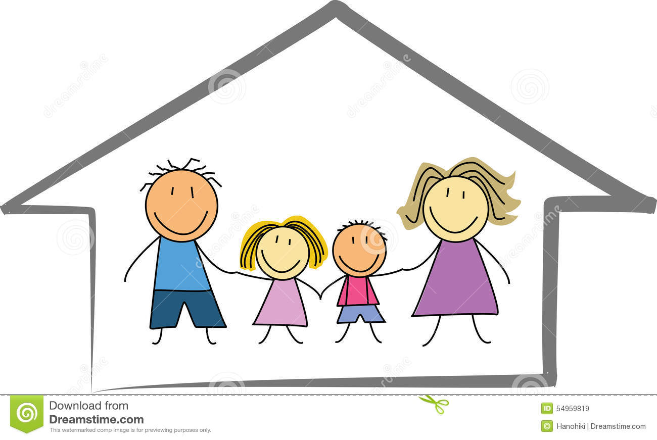 Happy Family Home    House - Kids Drawing    Sketch Stock Vector