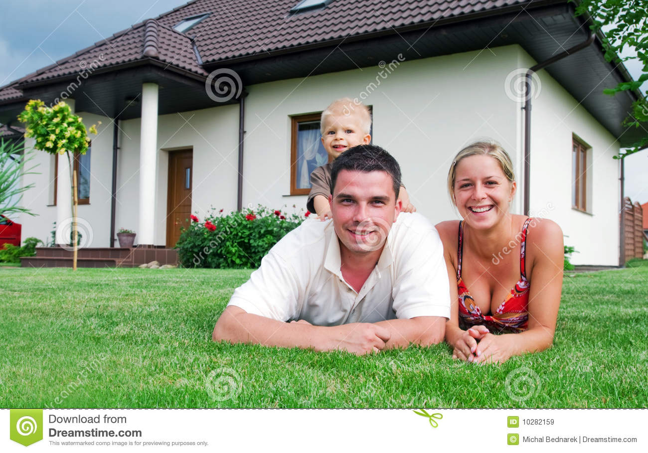 Happy family and house stock image image of casual for Free house photos