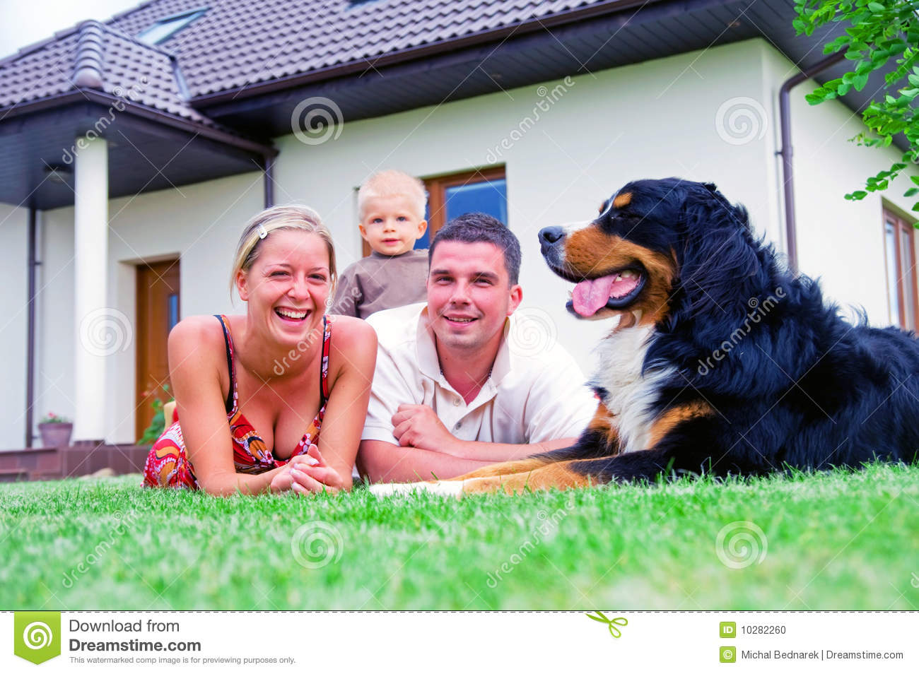 Happy Family And House Stock Photo Image Of Front Couple