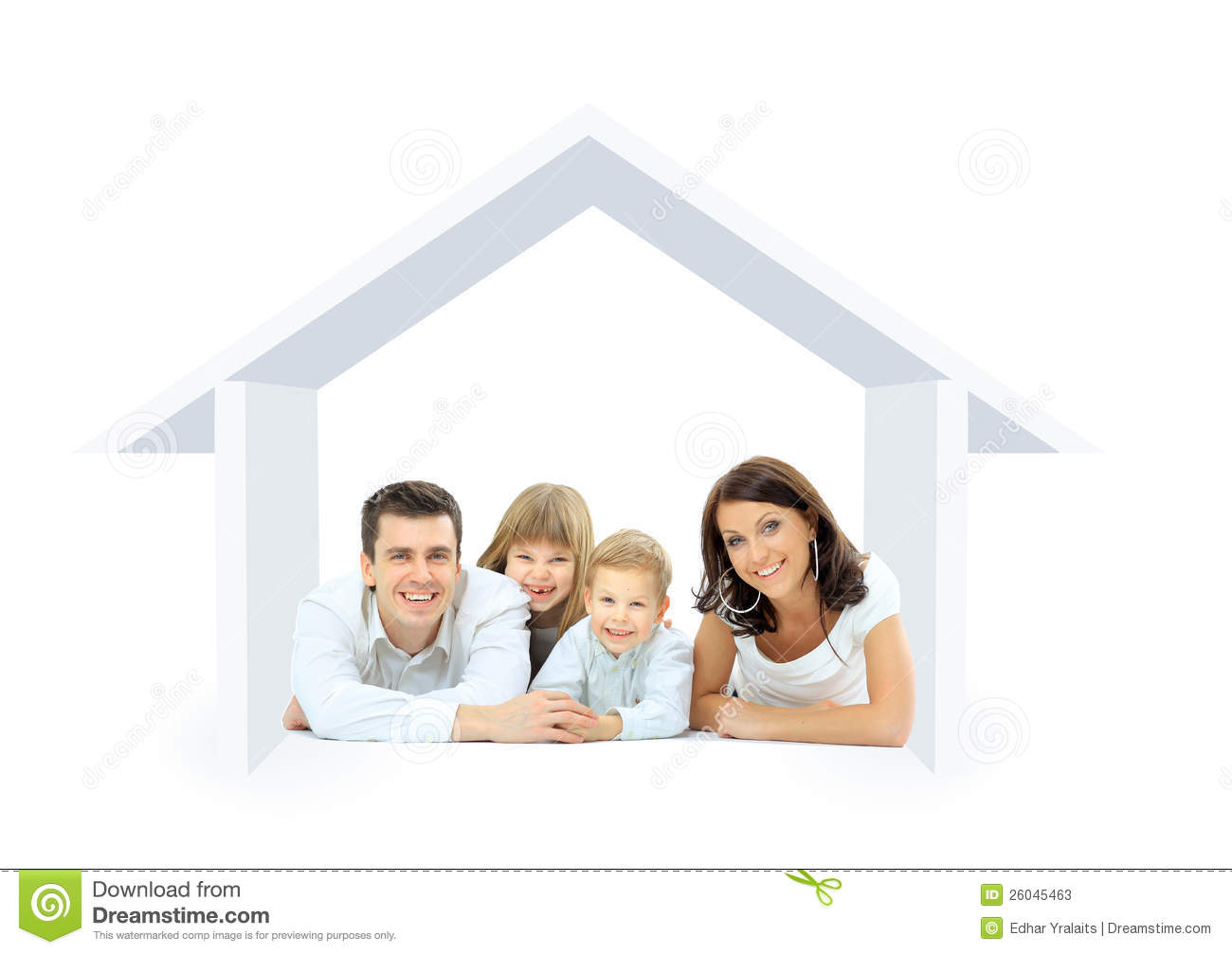 Happy family in a house stock illustration image of for Family in house