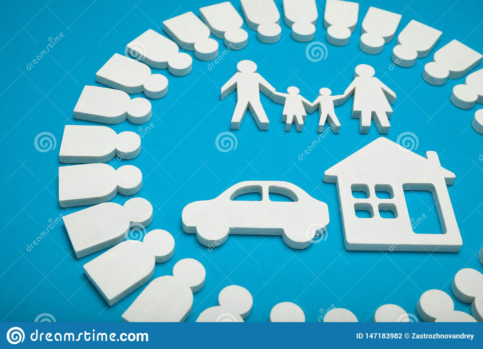 Happy family, house and car. Concept