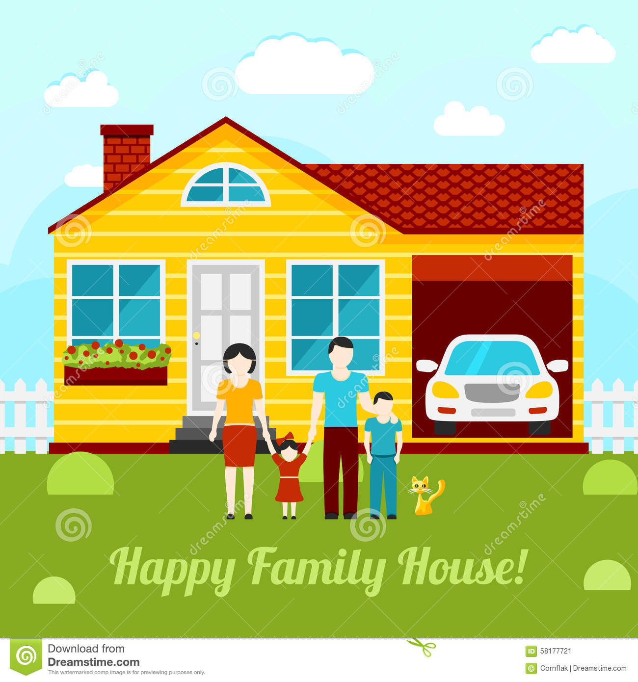 Happy family house concept illustration couple stock vector image 58177721 - Houses for families withchild ...