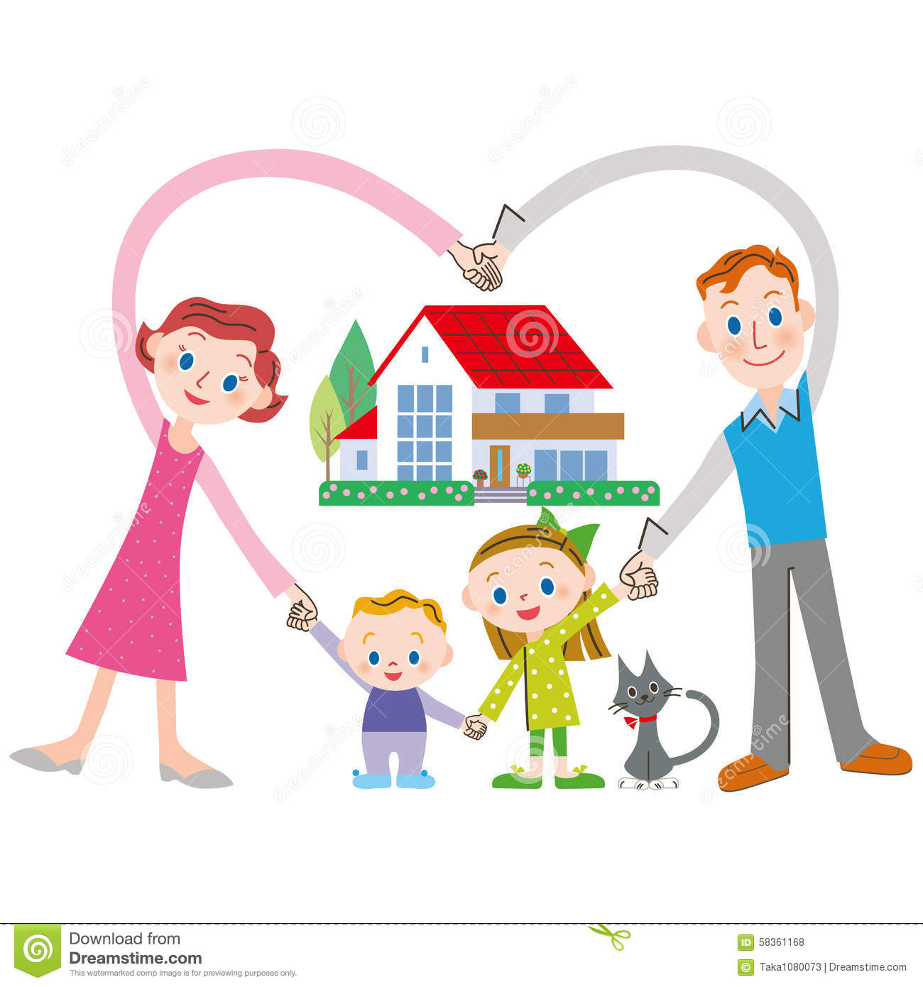 Happy Family And House Stock Vector Image 58361168