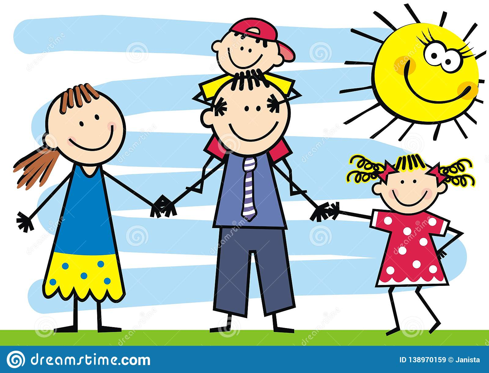 Happy Family And Humorous Sun Vector Illustration Stock Vector Illustration Of Group Cute 138970159