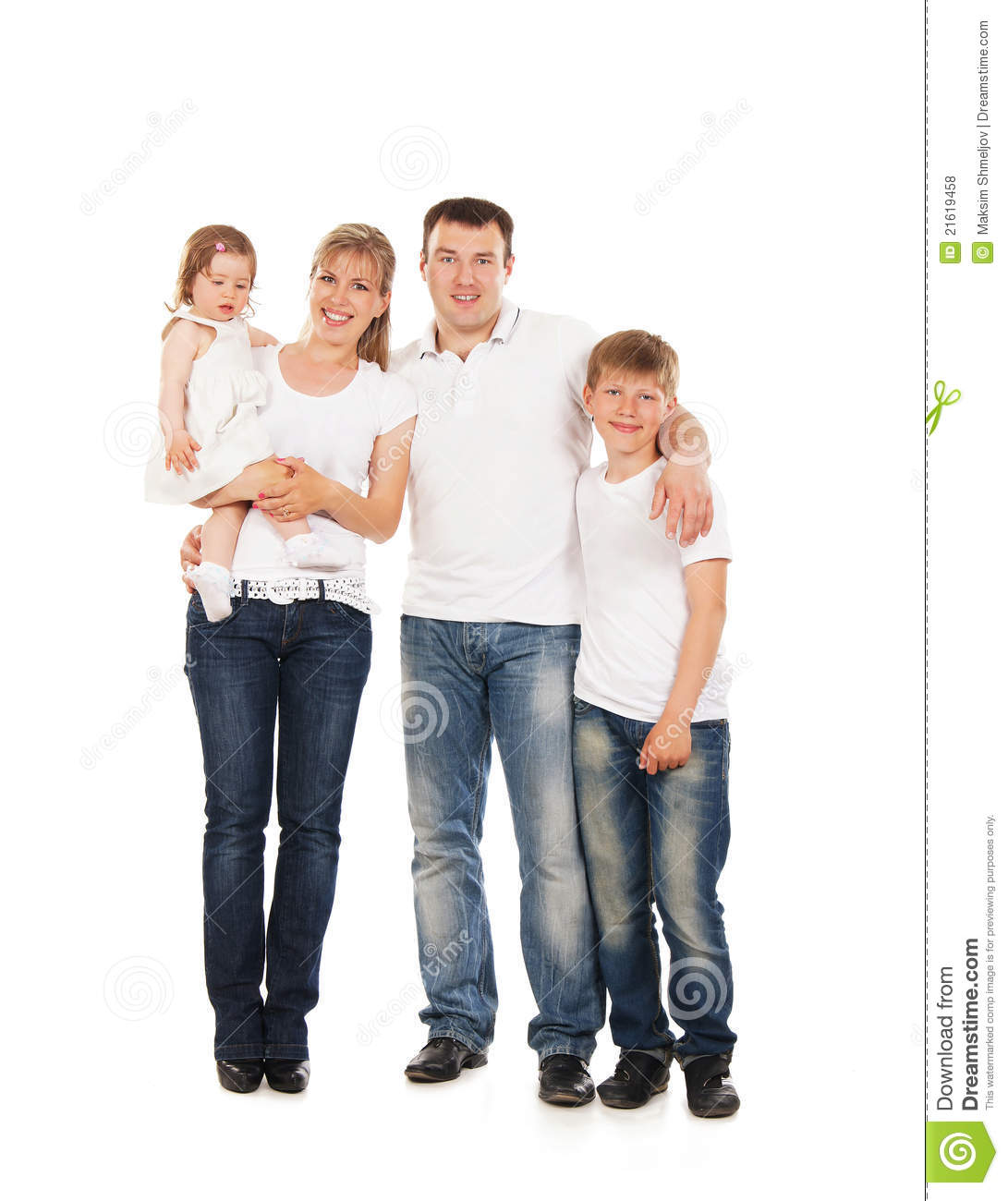 Happy Family Isolated Over White Background Royalty Free
