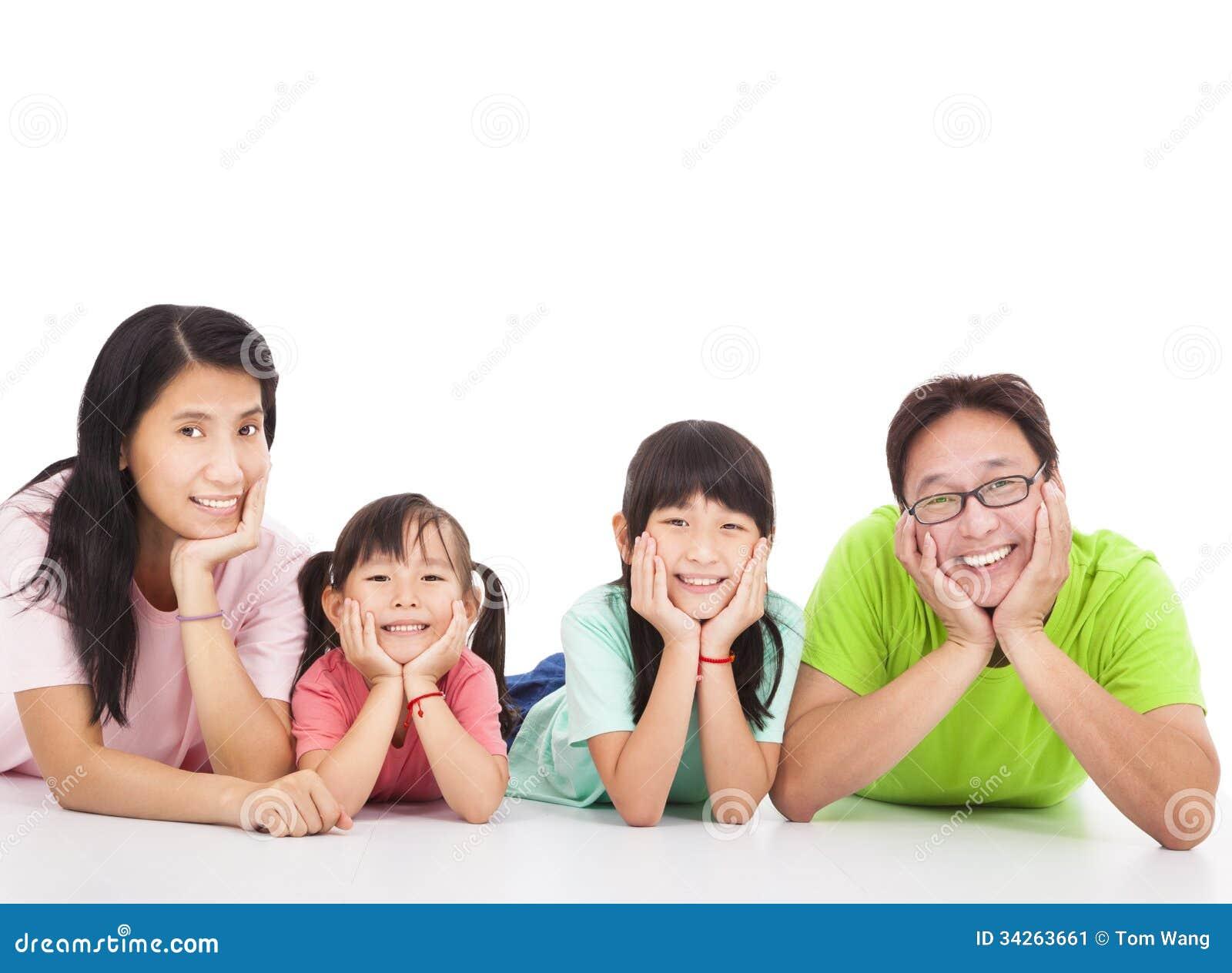 Happy Family Isolated On White Stock Image Image 34263661