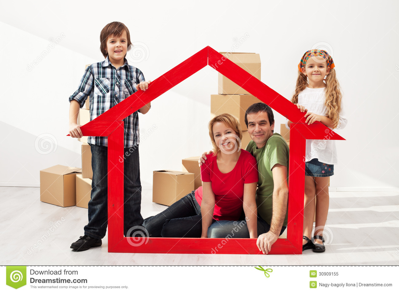 Happy family with kids moving into their new home royalty free stock photo image 30909155 - Houses for families withchild ...