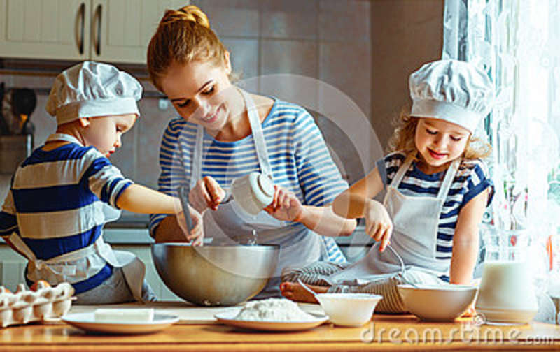 Download Happy Family In Kitchen. Mother And Children Preparing Dough, Ba Stock Photo - Image of home, caucasian: 86632320