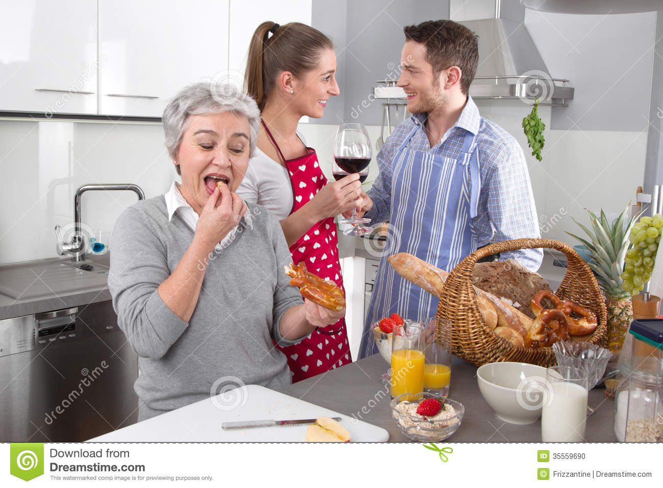 happy family in the kitchen together stock photo  image, Kitchen design