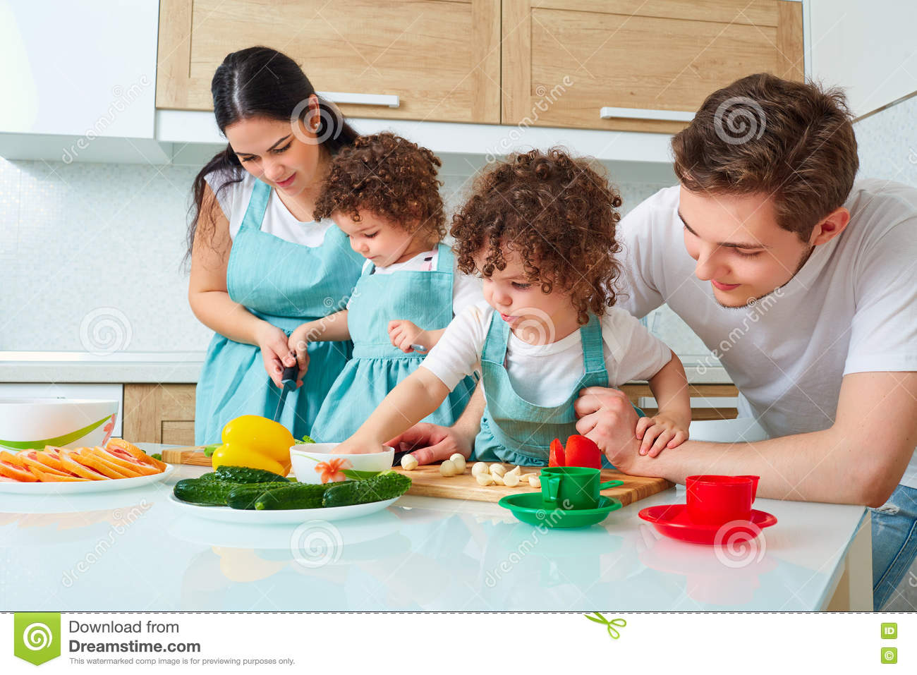 Happy family in kitchen - Dad Family Girl Happy Kitchen
