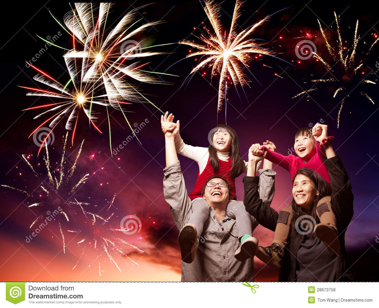 happy family looking fireworks stock photo - image of holiday, girl
