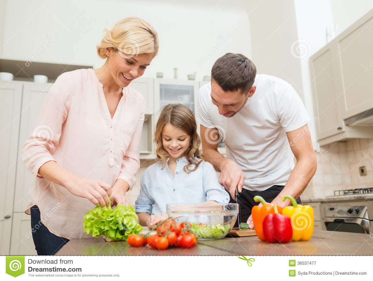 Happy Family Making Dinner In Kitchen Royalty Free Stock Photography Image 36537477