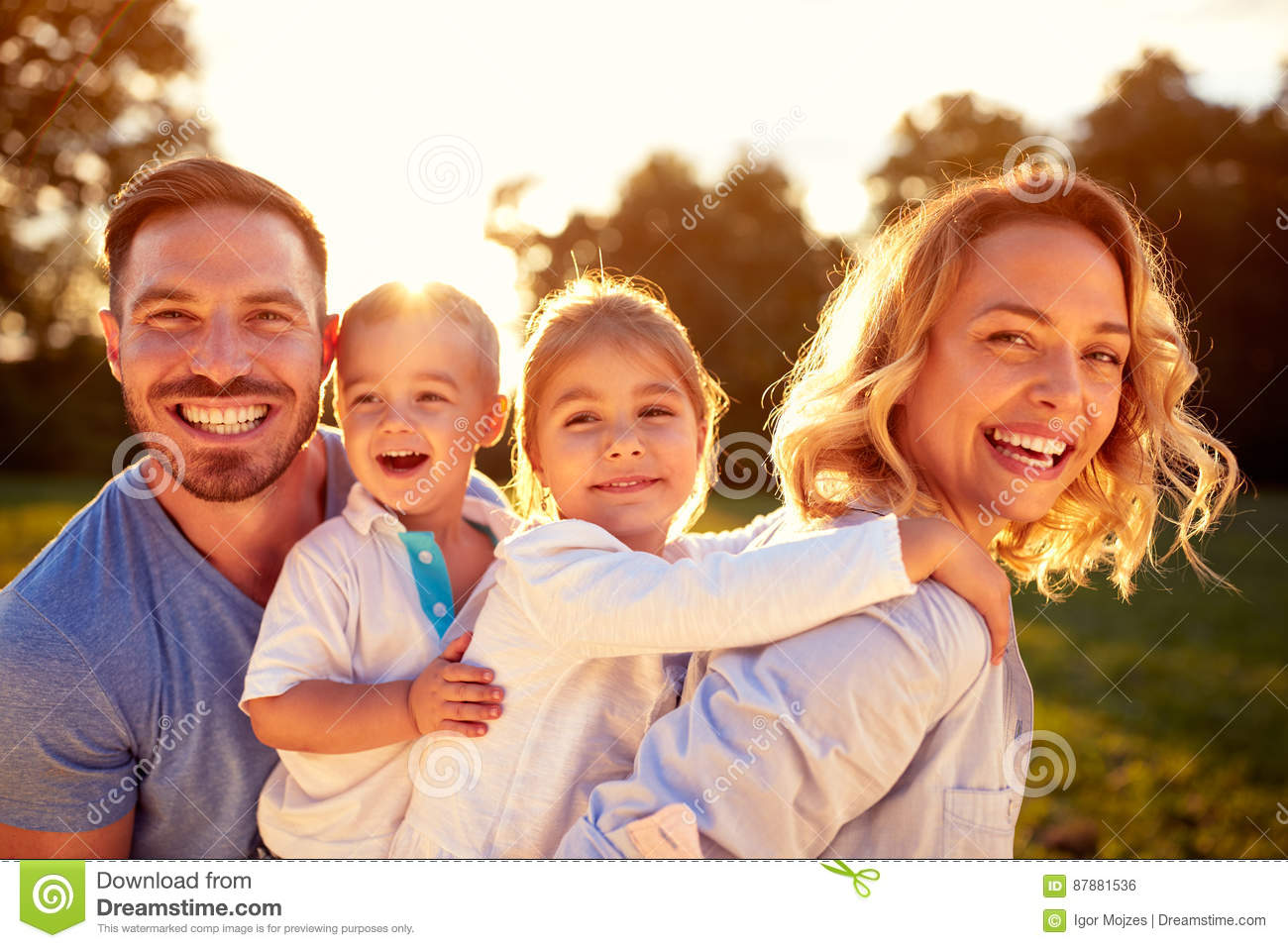Download Happy family stock photo. Image of child, caucasian, enjoying - 87881536