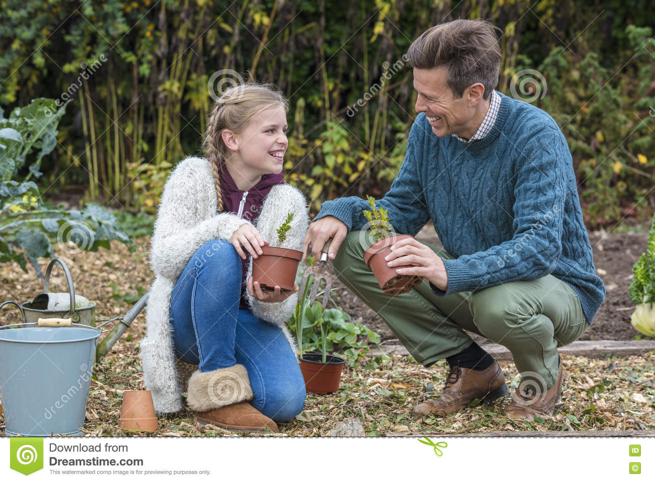 Happy Family Man Girl Child Father Daughter Gardening Stock Photo Image 81013104
