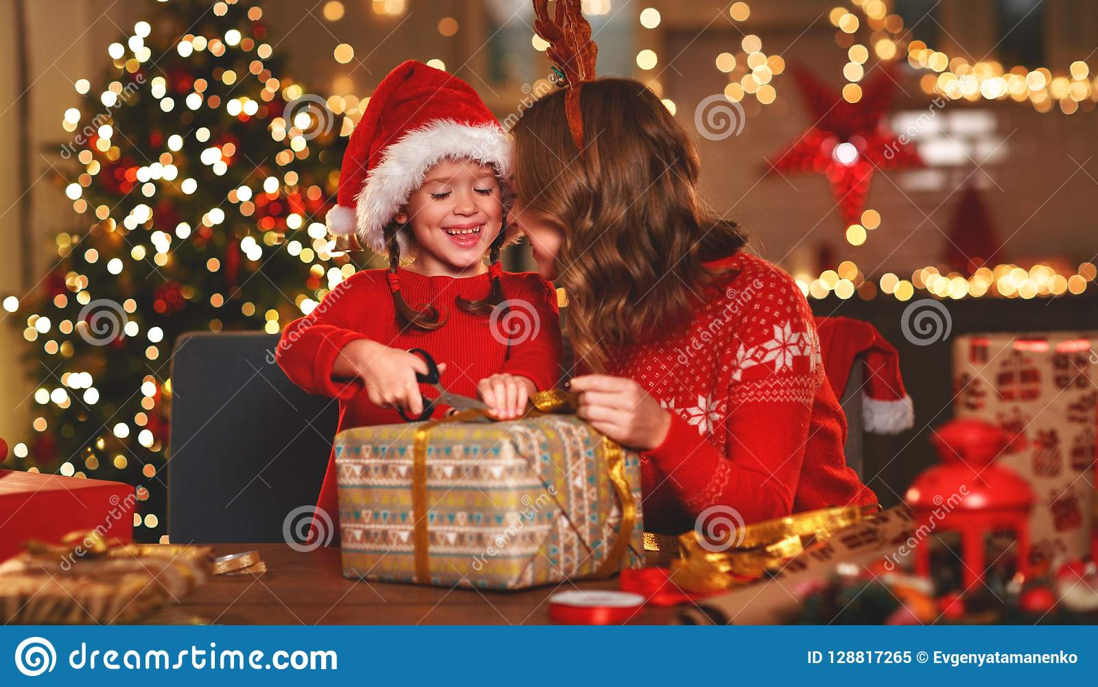 Happy Family Mother And Child Pack Christmas Gifts Stock Image ...