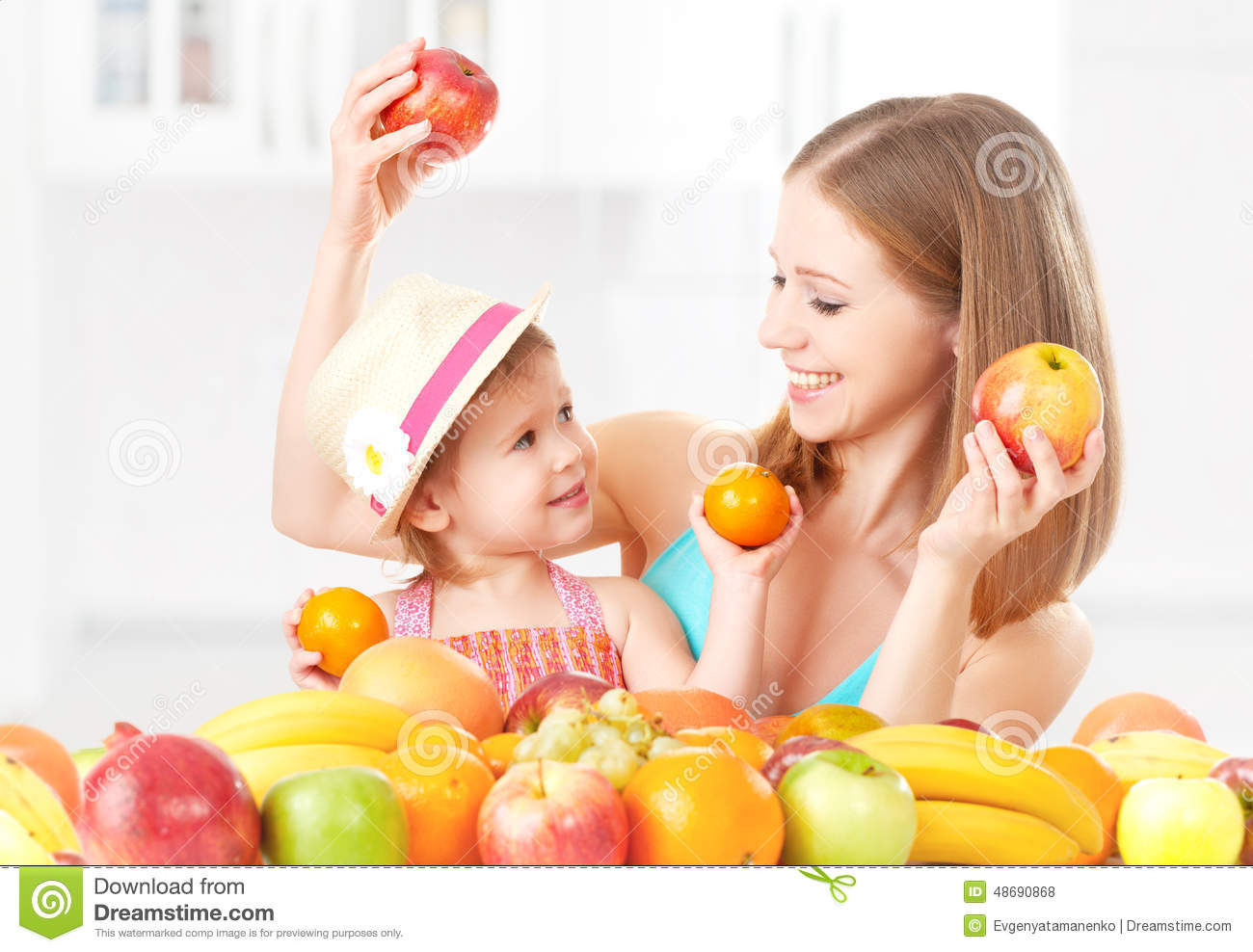 fruit girl is eating just fruit healthy