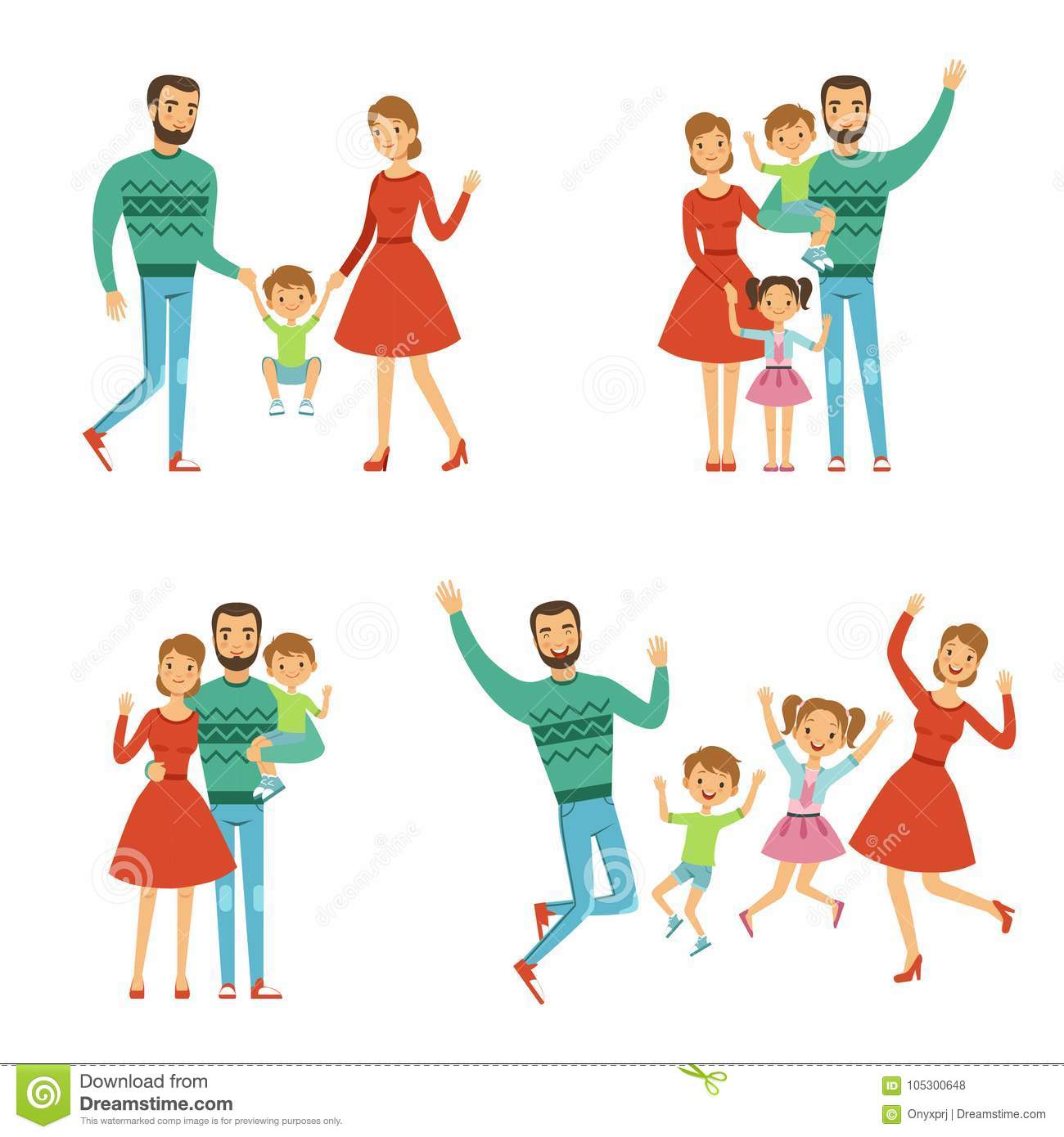 Happy Family  Mother, Father And Kids  Characters With