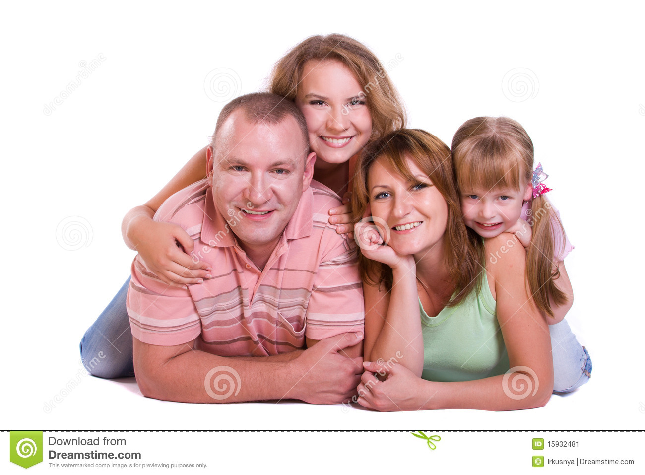 Happy Family Mother Father And Two Daughters Stock Image