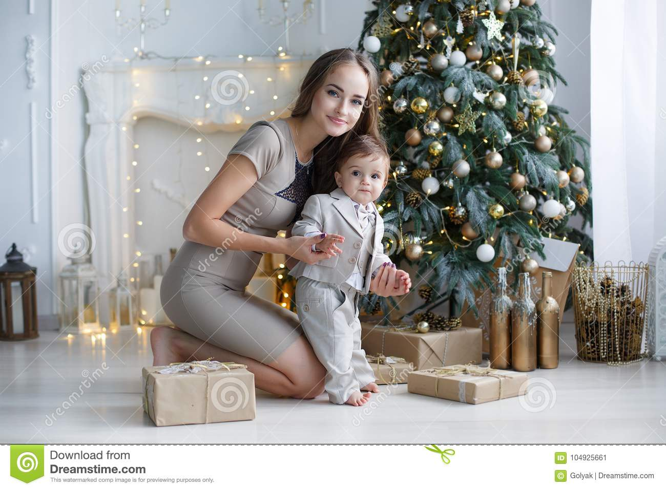 Mom With A Small Son Near A Beautiful Christmas Tree In His House Stock Image Image Of Garland Caucasian 104925661