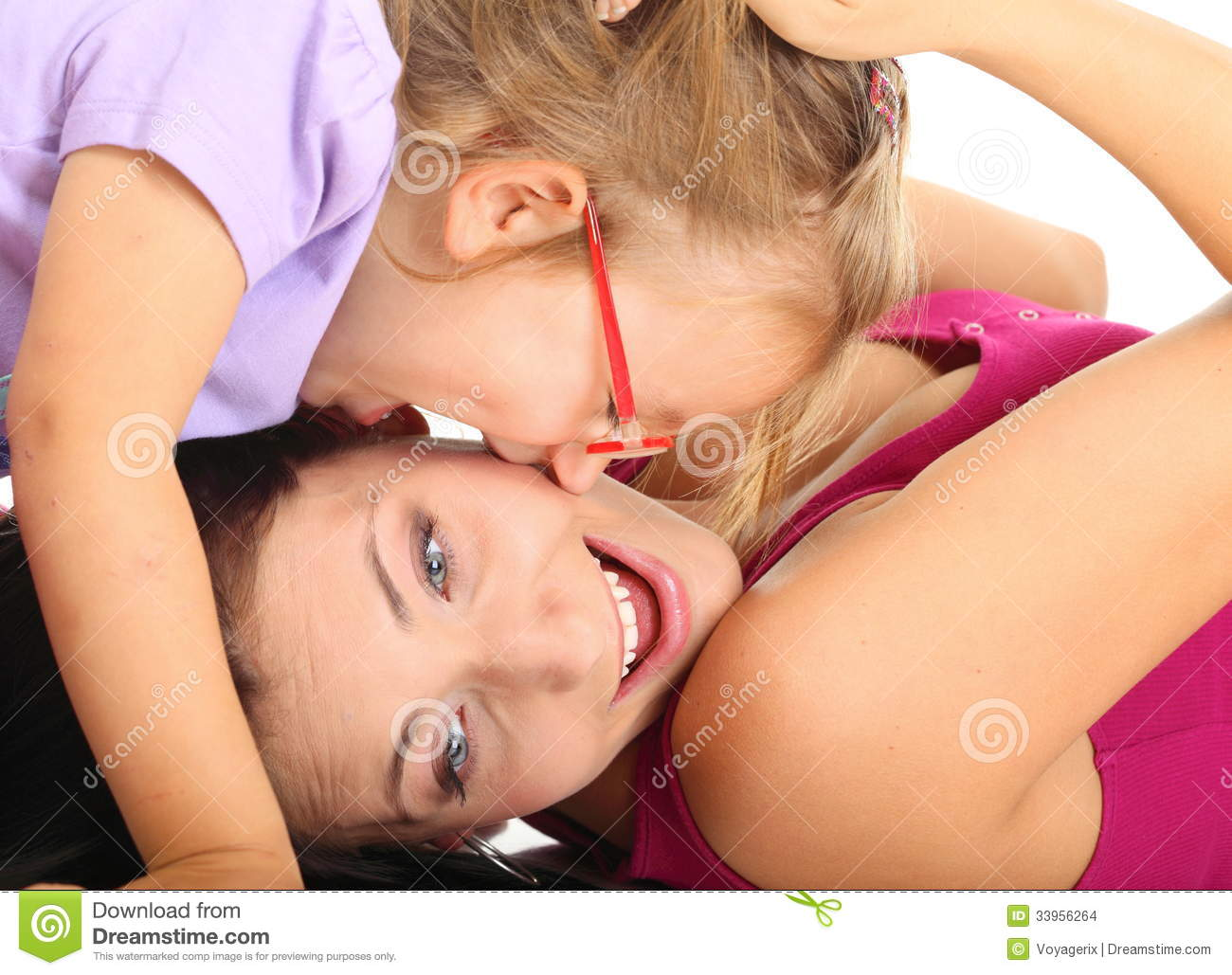 cute mother daughter nude together