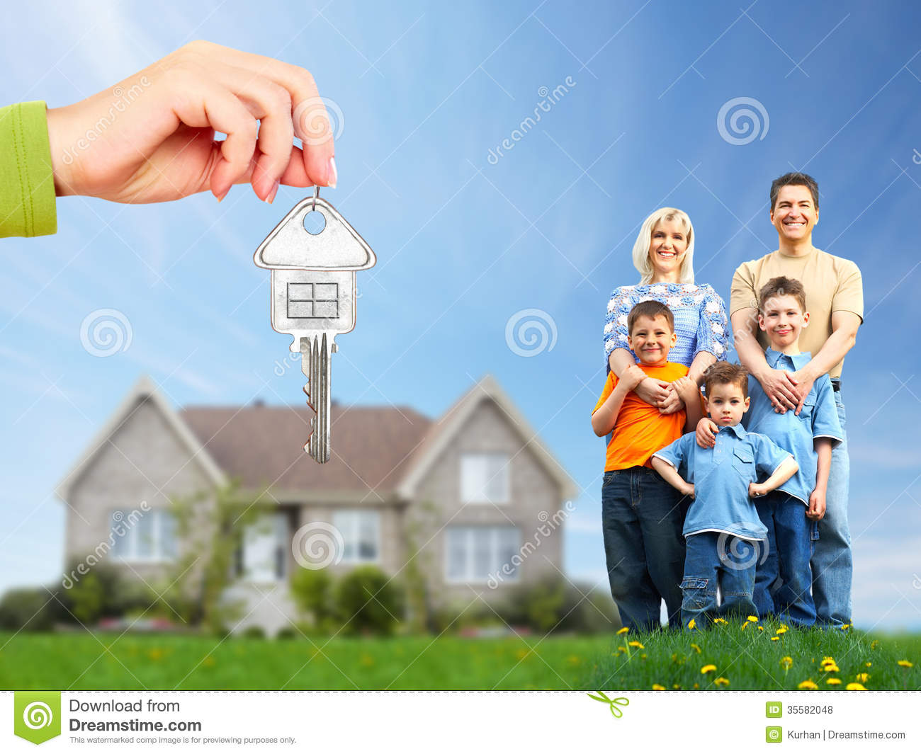 Happy family near new house stock photo image 35582048 for Family in house