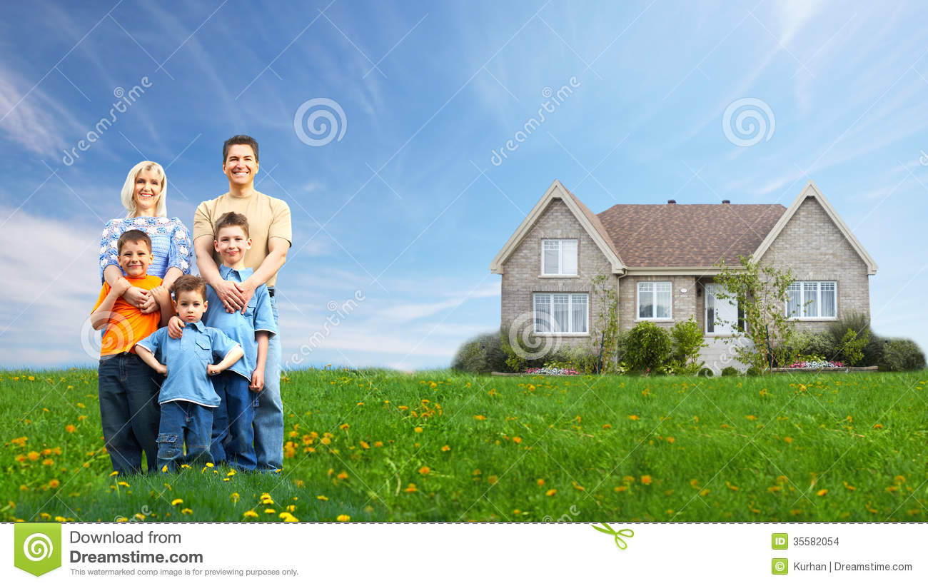 Happy family near new house stock images image 35582054 for New home images