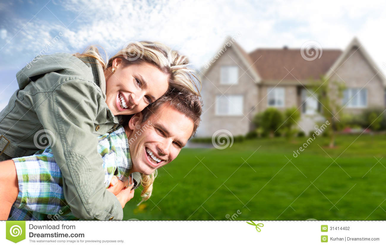 Happy family near new house stock photo image of build for Find a house online