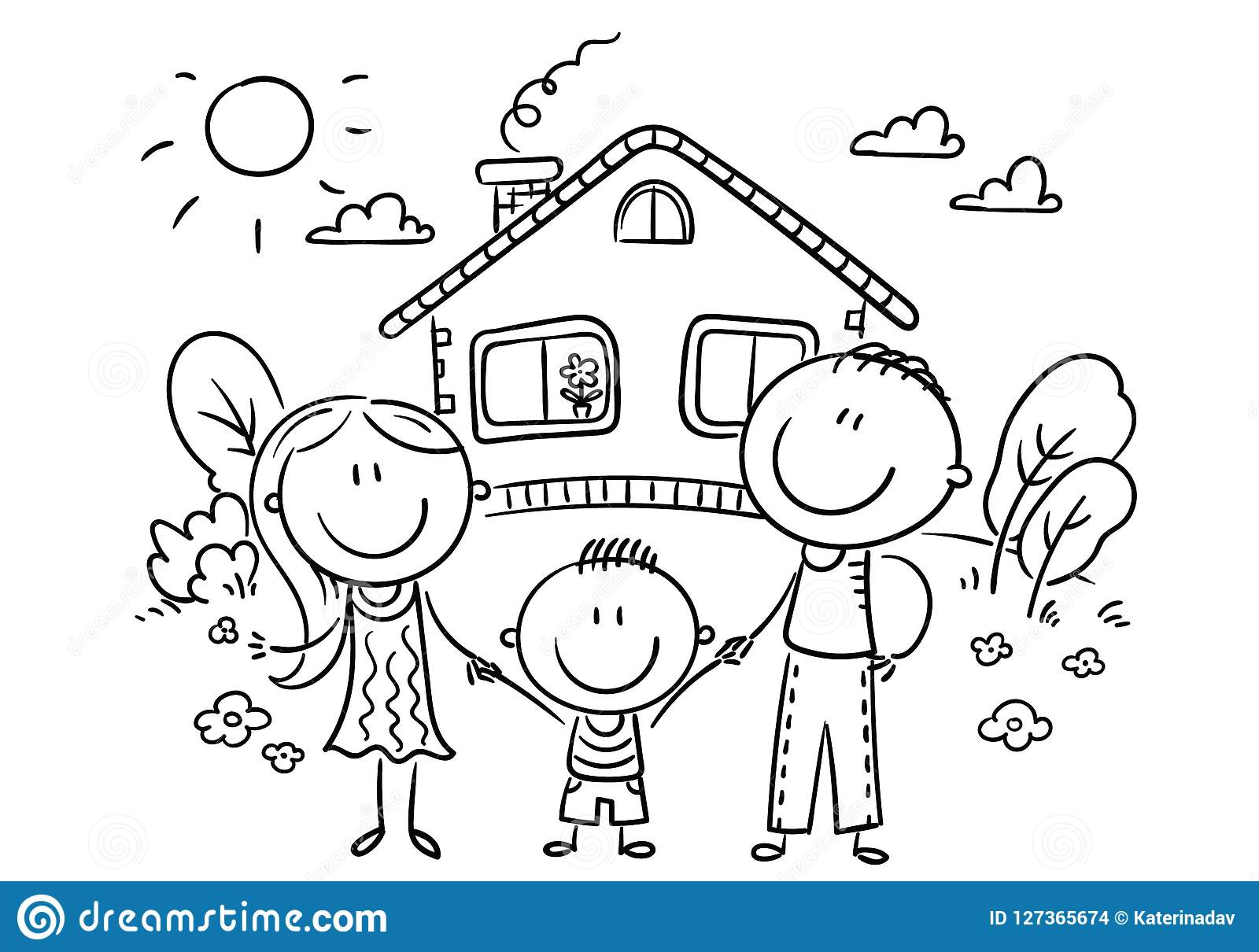 happy family with one child near their house black and white stock Black and White Cartoon Church happy cartoon family with one child near their house with a garden vector illustration outline