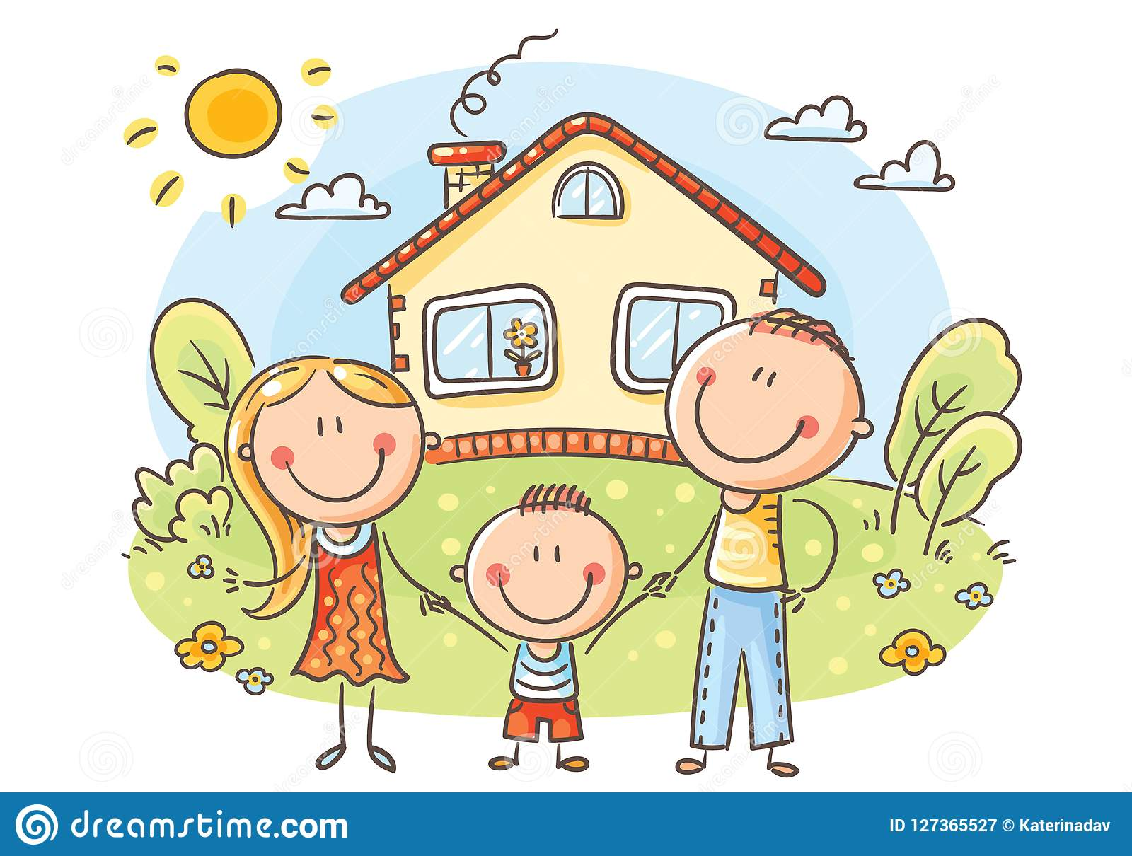 Happy Family With One Child Near Their House Stock Vector Illustration Of House Cute 127365527