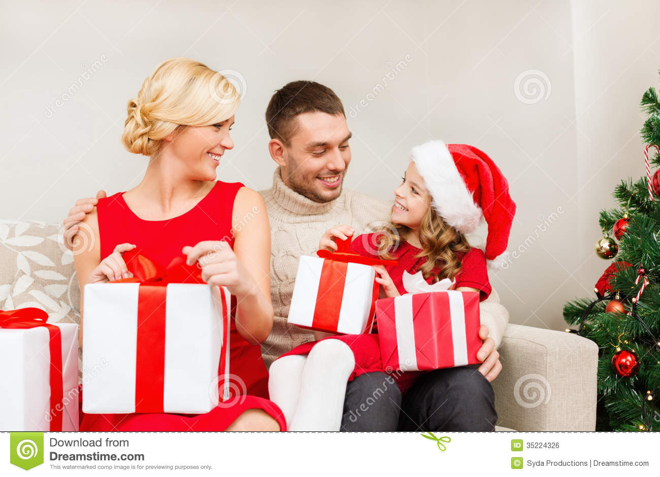 Happy Family Opening Gift Boxes Stock Photo - Image of home, claus ...