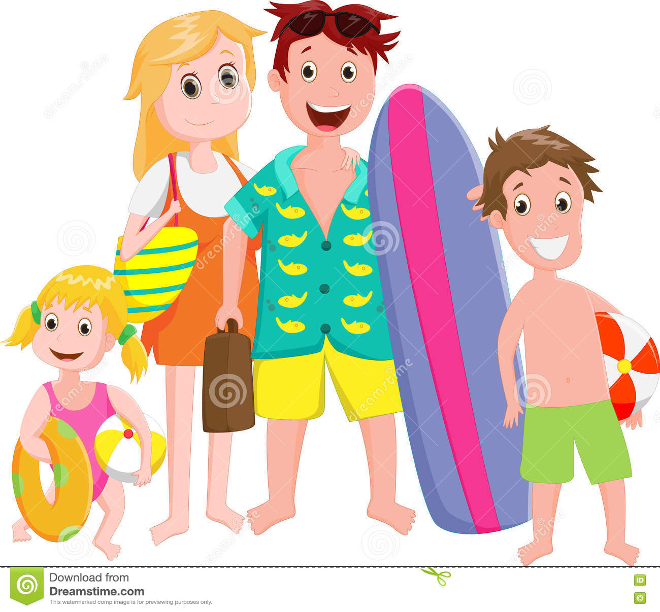 Happy Family Outing At The Beach On White Stock Vector