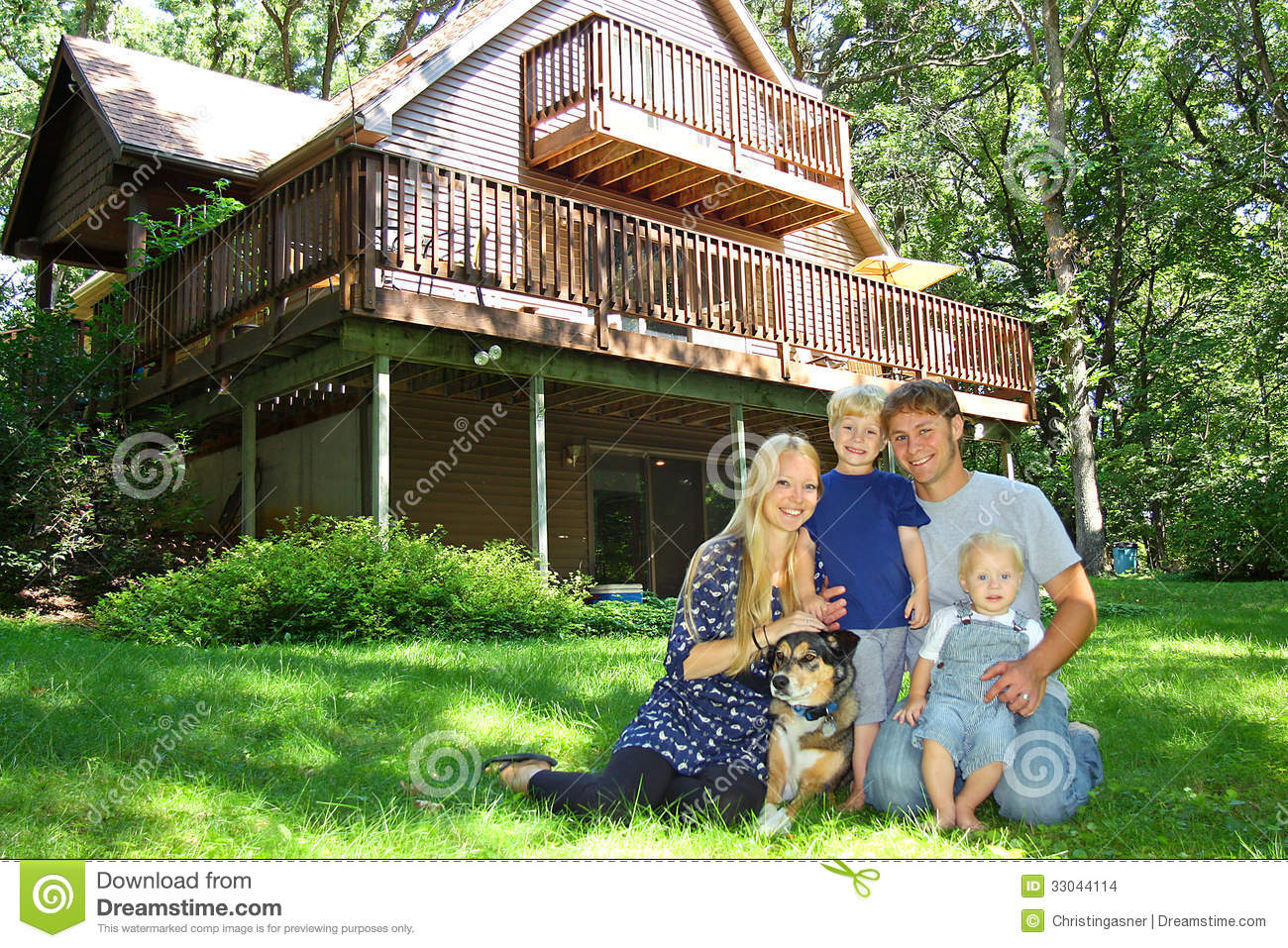 Happy Family Outside By Cabin Stock Images Image 33044114