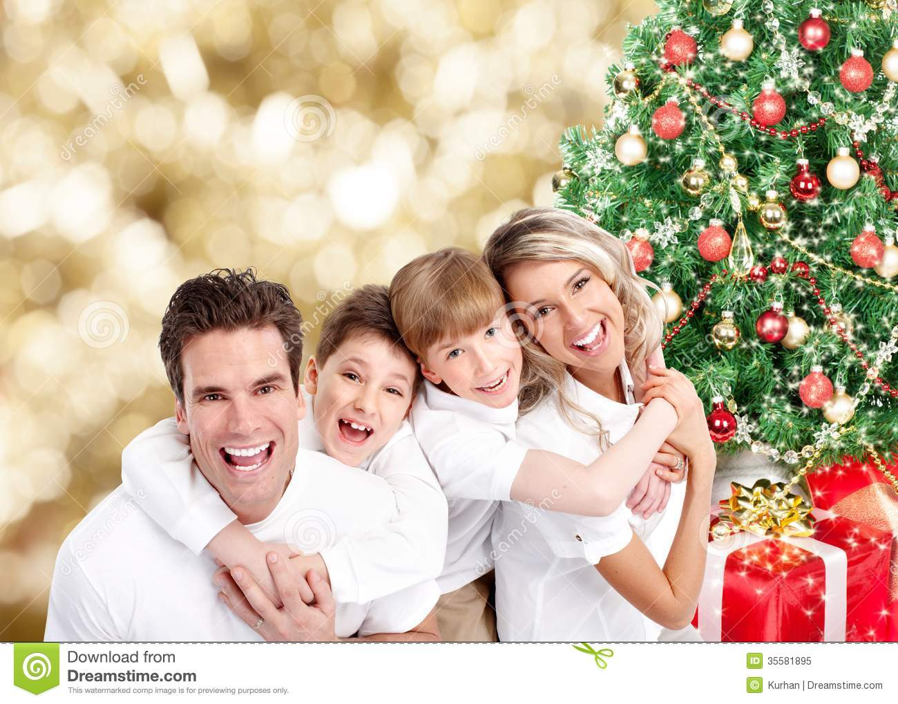 Happy Family Over Christmas Background Stock Image