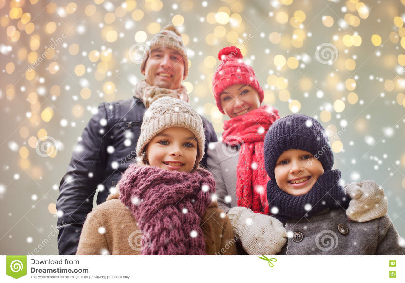 Happy Family Over Christmas Lights And Snow Stock Image - Image of ...