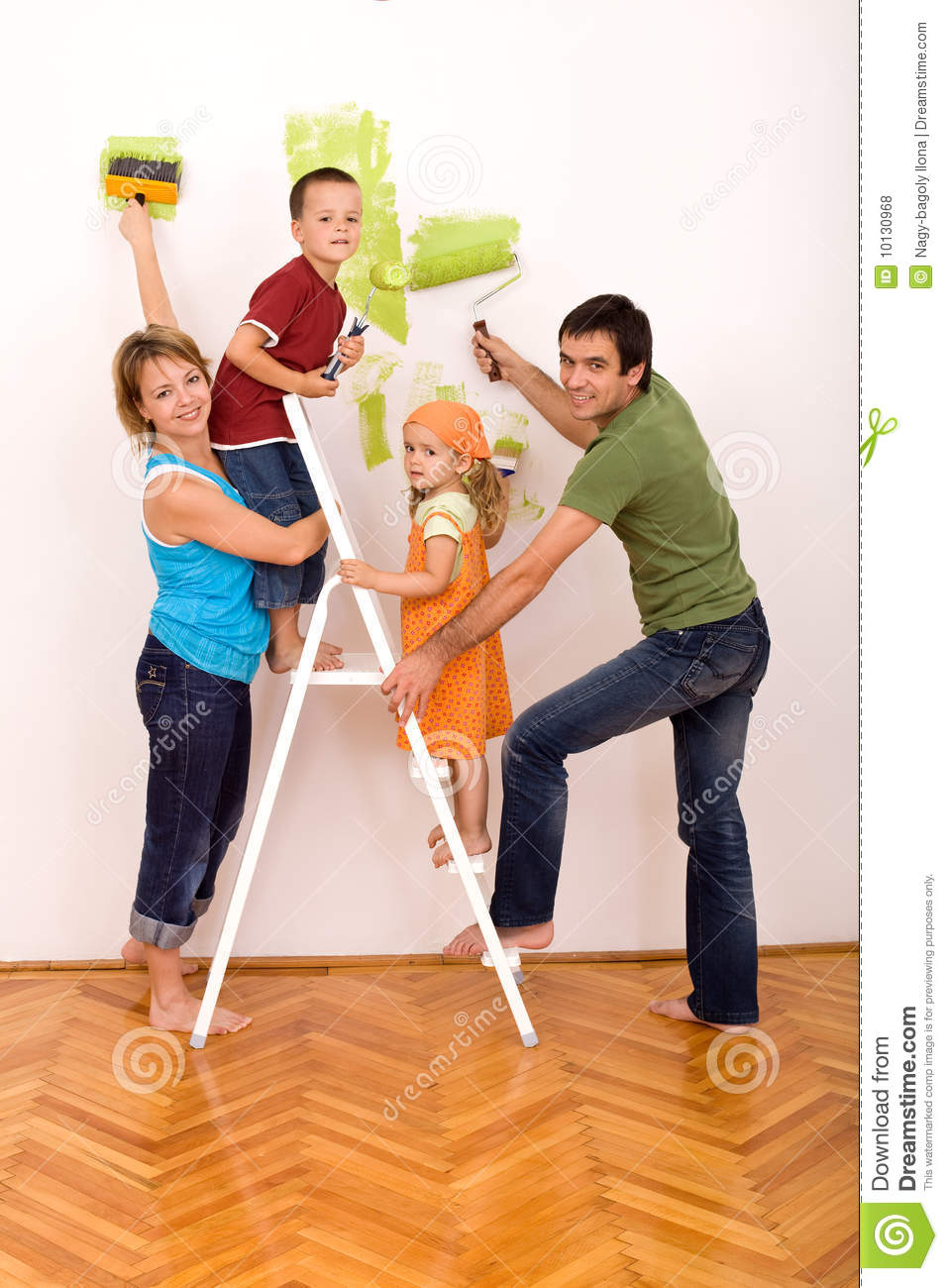 Happy Family With Painting Utensils Royalty Free Stock