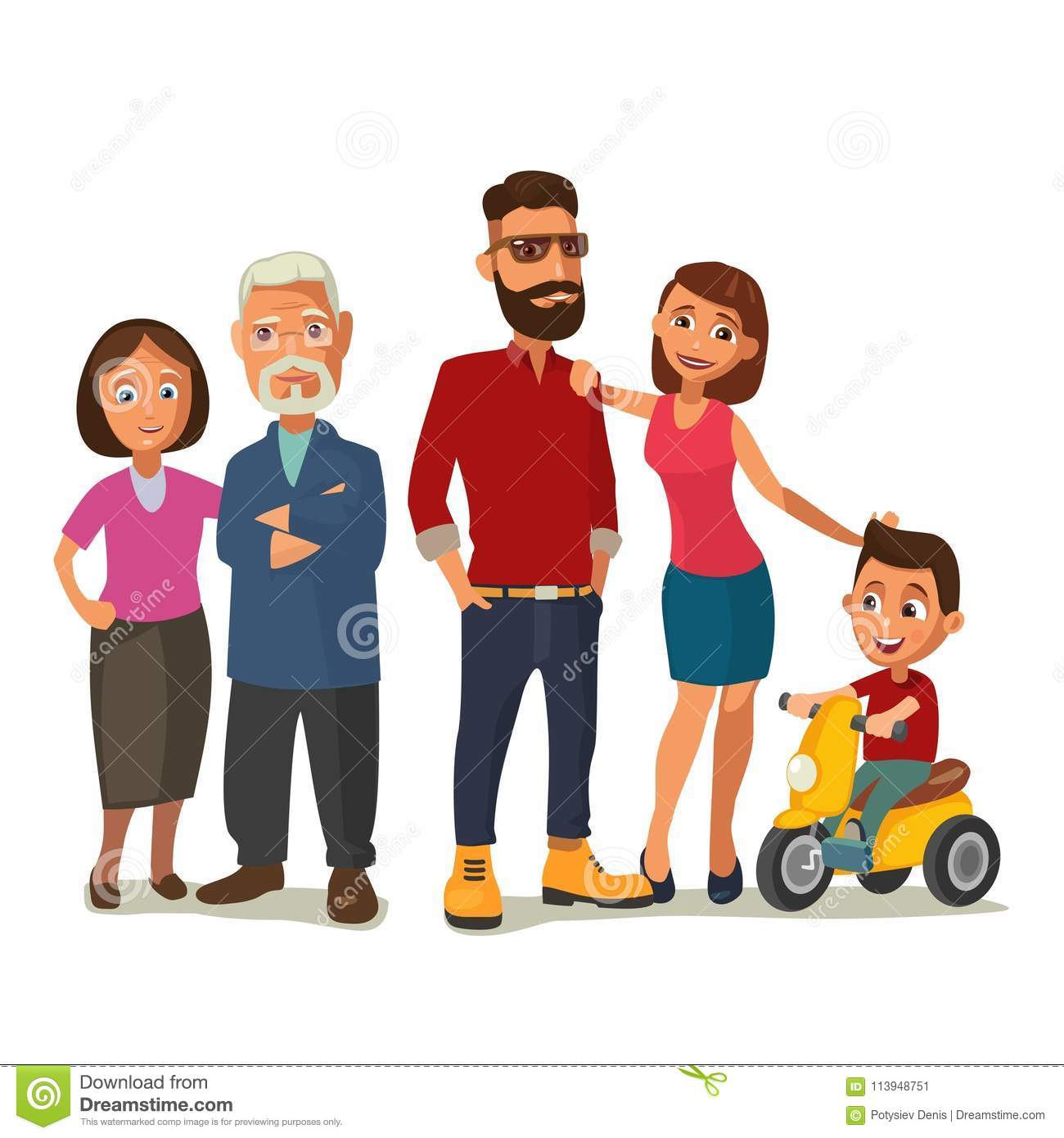 Happy Family. Parents, Grandparents And Child On A Tricycle. Stock ...