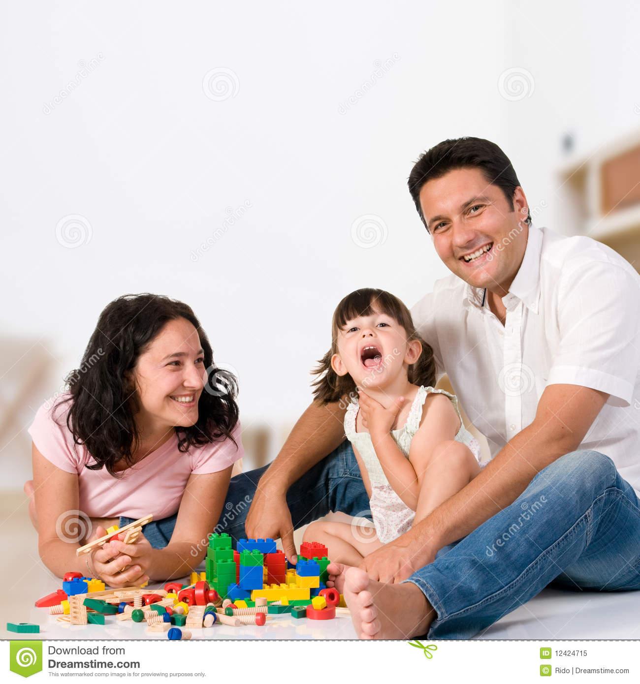 Happy Family Playing With Blocks Royalty Free Stock Photo Image 12424715