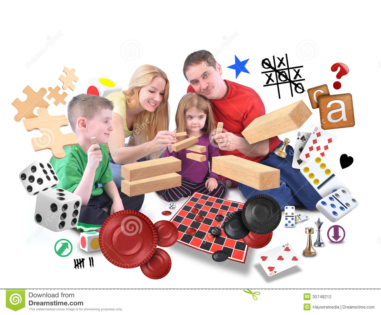 Happy Family Playing Games Together On White Stock ...