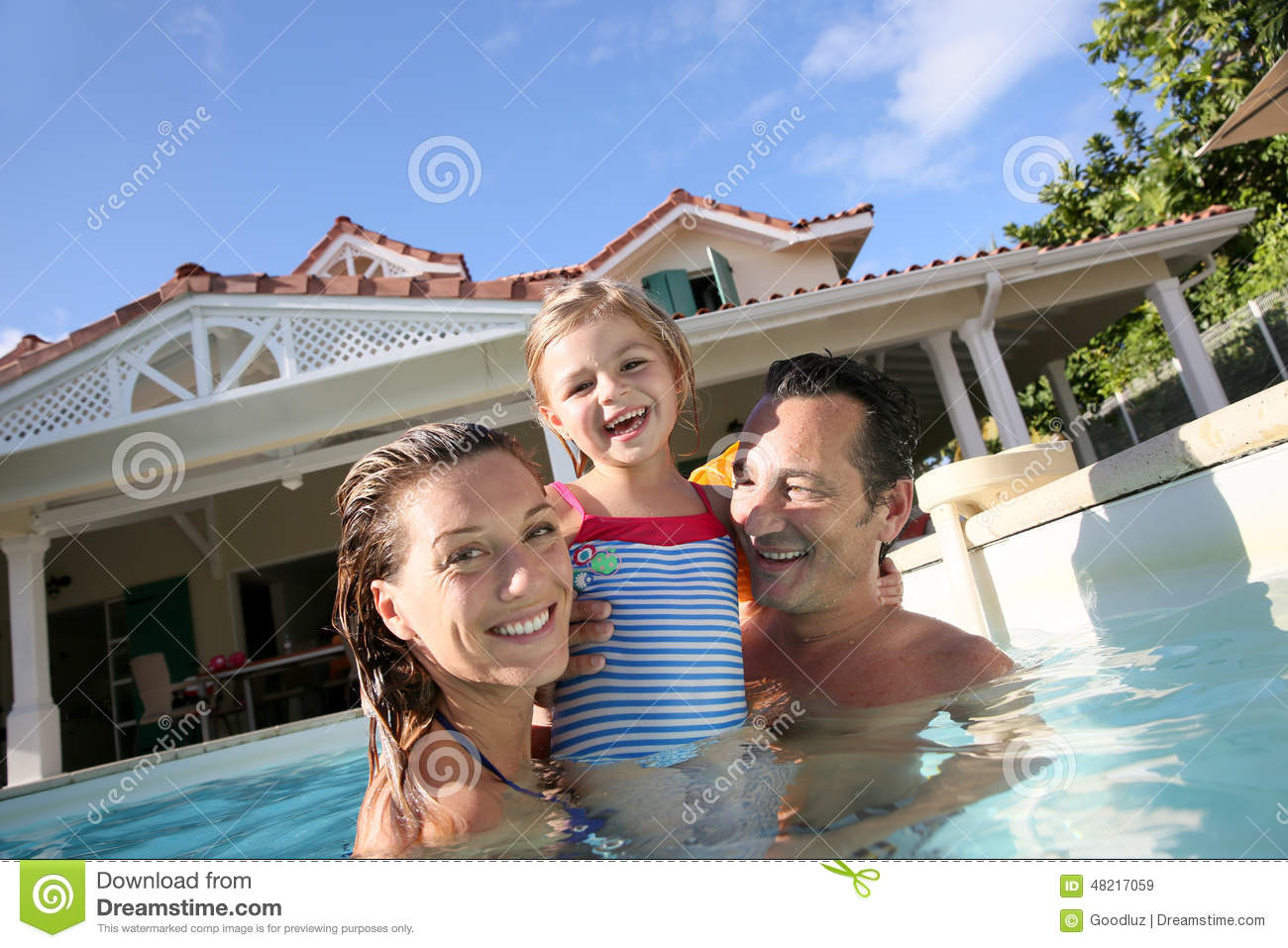 Happy family with little girl bathing in pool royalty free for Family swimming pool