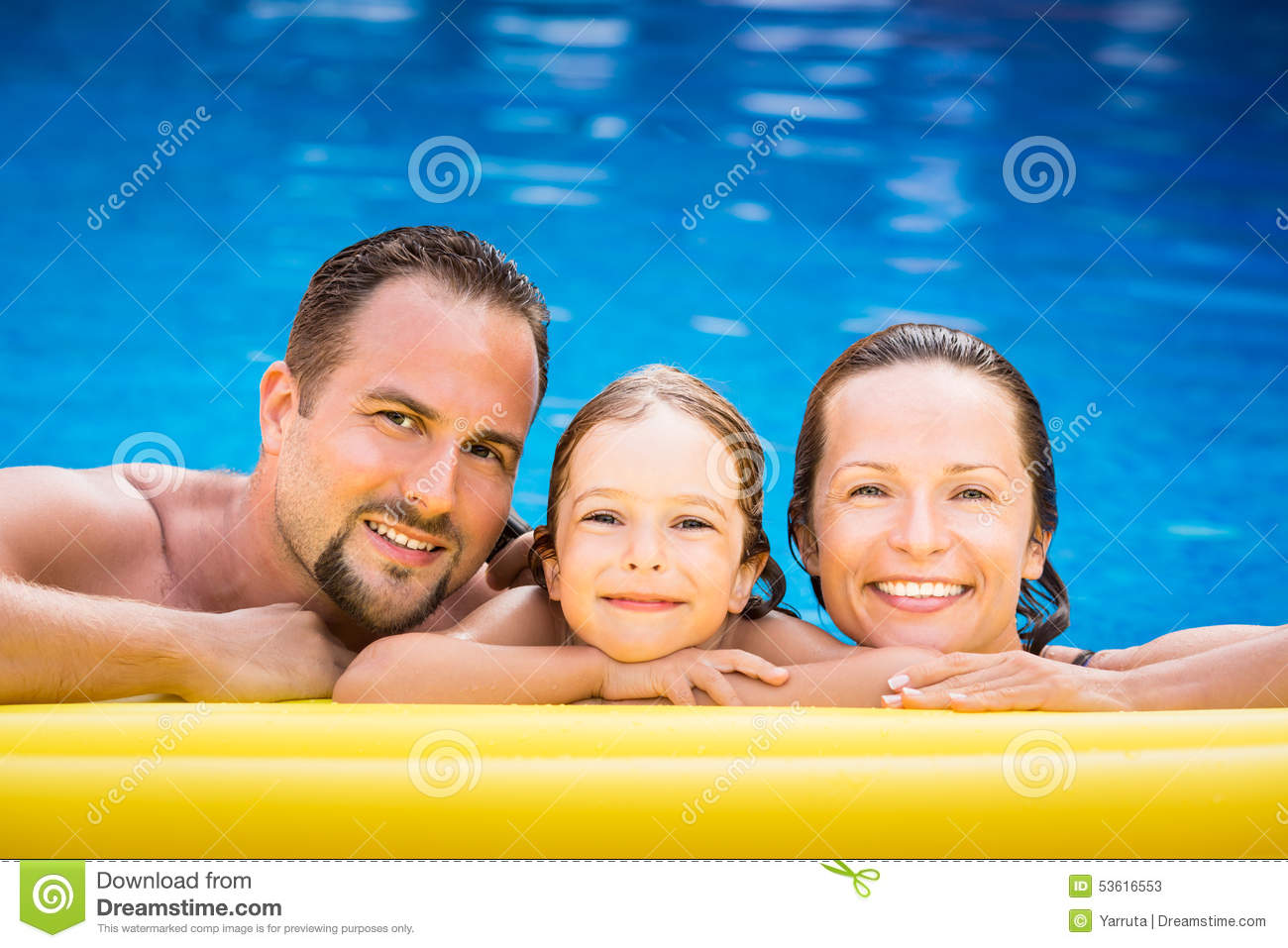 Happy family playing in swimming pool stock photo image for Family swimming pool
